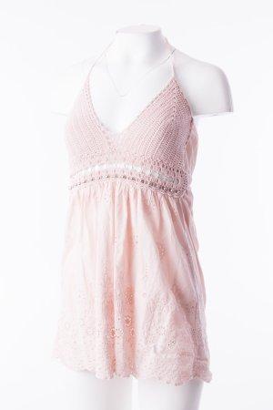 Top en maille crochet rosé coton