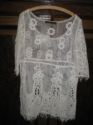 Zara Basic Top en maille crochet blanc cassé