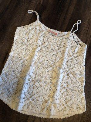 Bershka Crochet Top cream