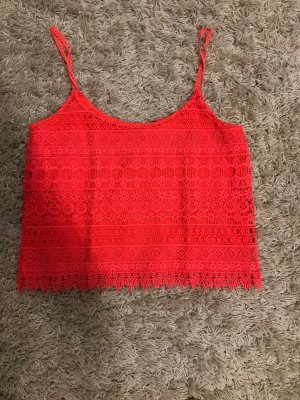 H&M Crochet Top neon orange-orange