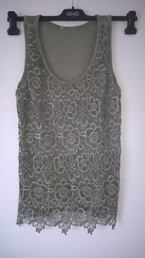 Crochet Top green grey