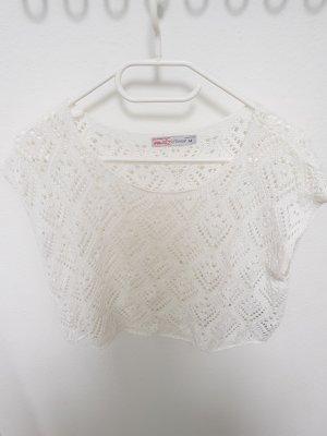 Fishbone Top en maille crochet blanc