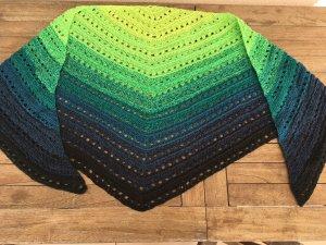 Crochet Scarf black-green cotton