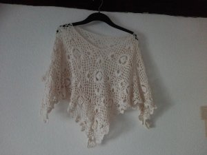 Knitted Poncho white cotton