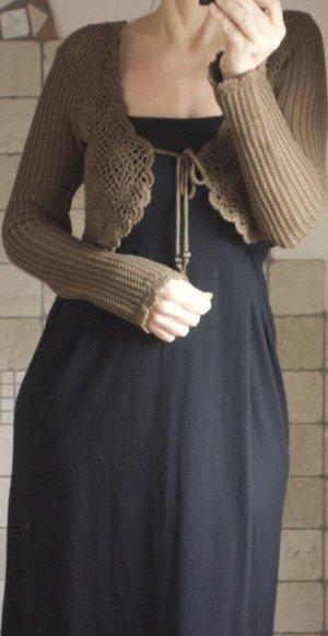 Boléro en tricot brun-marron clair coton