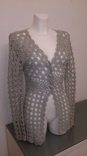 Crochet Cardigan silver-colored-light grey