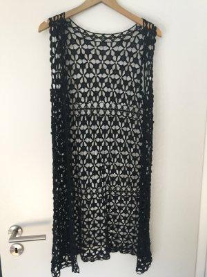 Gilet long tricoté noir coton