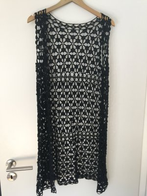 Long Knitted Vest black cotton