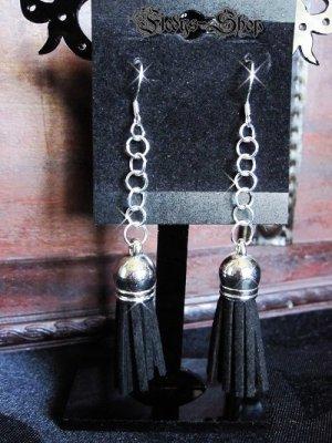 Orecchino a pendente argento-nero