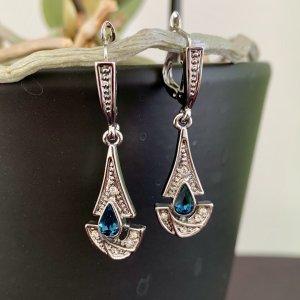 Hänge-Ohrringe silberfarben blauer Stein neuwertig