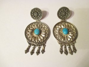 Silver Earrings turquoise-silver-colored real silver