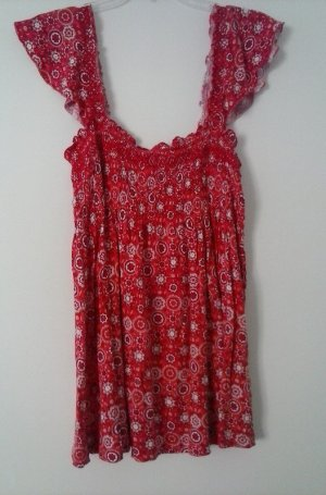 H&M Empire Waist Top red cotton