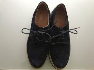 Bronx Zapatos brogue azul oscuro Gamuza