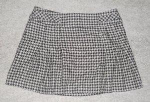 Hahnentritt Mini Rock kurz schwarz grau Faltenrock Gr. UK 14 40 42