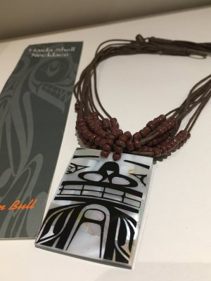 Shell Necklace dark brown mixture fibre
