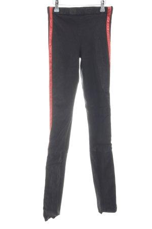 Haider ackermann Leren broek zwart-rood extravagante stijl