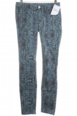 haikure Röhrenhose graublau-dunkelgrün abstraktes Muster extravaganter Stil