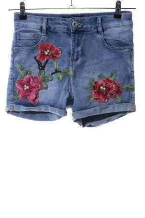 Hailys Jeansshorts blau Blumenmuster Casual-Look