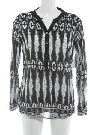 Hailys Langarm-Bluse schwarz-weiß grafisches Muster Casual-Look