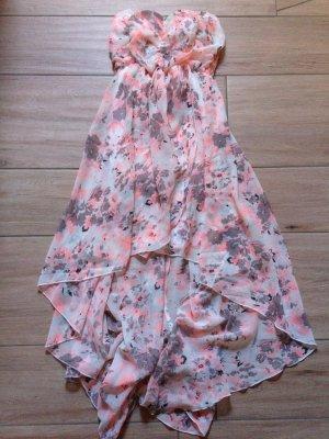 Hailys Sommerkleid trägerlos Bandeau-Kleid Größe S weiß koralle Vokuhila