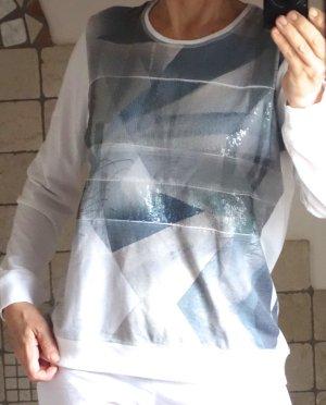 Hajo Sweater, Pulli (Joy of life), weiß, blau, blaugrau, taupe, gemustert, glänzende Pailetten, Materialmix (PE, Viskose, Elasthane), Ripp Bündchen, neuwertig, Gr. M, Gr. 38