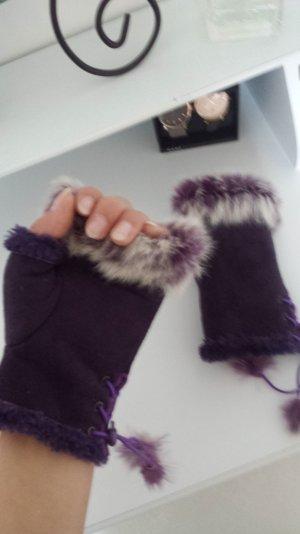 Halb Handschuhe in Lila mit echtem Pelz Gr. M/L