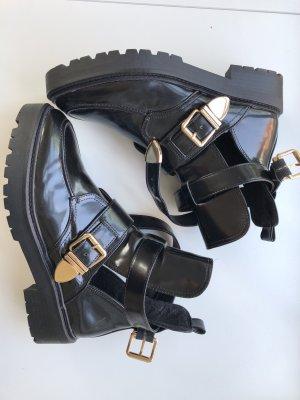 Halb Offene Riemen Boots mit Schnallen