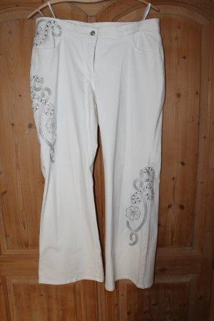 Halber Preis: weiße Jeans mit Applikationen von Madeleine, Größe 23 / 46, neu!