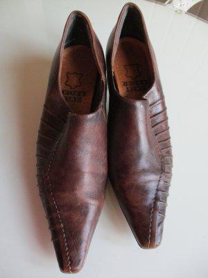 Chaussure à talons carrés brun-cognac cuir