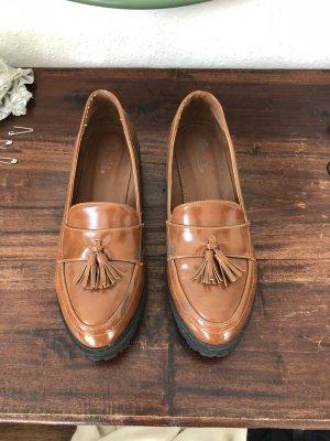 Halbschuhe brogues Schuhe braun Leder Look Business schick englisch klassisch Schulmädchen bommeln