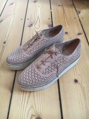 Stradivarius Chaussures à lacets marron clair-crème