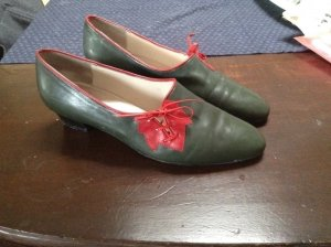 Mary Janes brick red-dark green