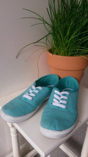 Halbschuhe Sneaker, sommerlich, Stoff, türkis-weiß