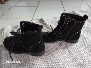Halfhoge laarzen zwart-zilver