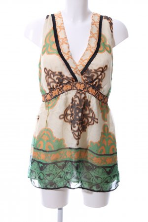 Hale Bob Blouse topje room-groen abstract patroon casual uitstraling