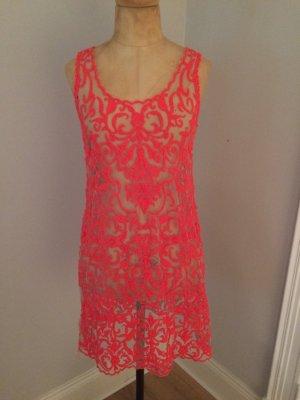 Hale Bob transparentes Kleid Gr. S neonpink