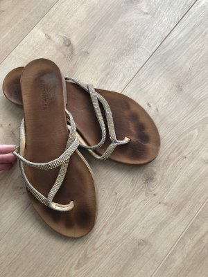 Hallhuber Toe-Post sandals gold-colored