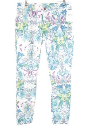 Hallhuber 7/8-Hose neonblau-grün Blumenmuster extravaganter Stil