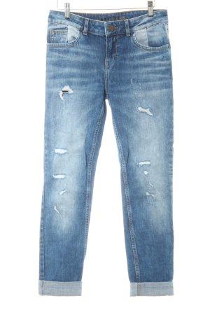 Hallhuber Jeans 7/8 gris ardoise-blanc style décontracté
