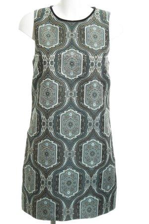 Hallhuber A-Linien Kleid türkis-blau abstraktes Muster Casual-Look