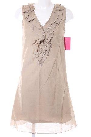 Hallhuber A-Linien Kleid beige Rüschenbesatz