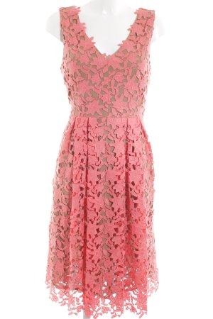 Hallhuber A-Linien Kleid pink-lila Blumenmuster Casual-Look