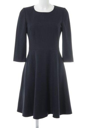 Hallhuber A Line Dress dark blue-slate-gray striped pattern elegant