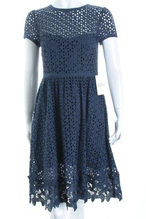 Hallhuber A-Linien Kleid dunkelblau Punktemuster Casual-Look