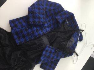 Hallhuber Tweed blazer blauw-zwart Gemengd weefsel