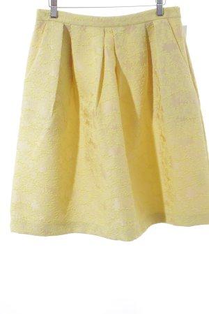 Hallhuber Asymmetrie-Rock gelb-creme florales Muster Casual-Look