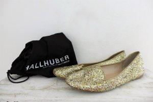 Hallhuber Ballerinas Schuhe Slipper gold silber Glitzer Glitter Gr. 40