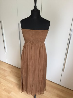 Hallhuber Bandeau Dress brown silk