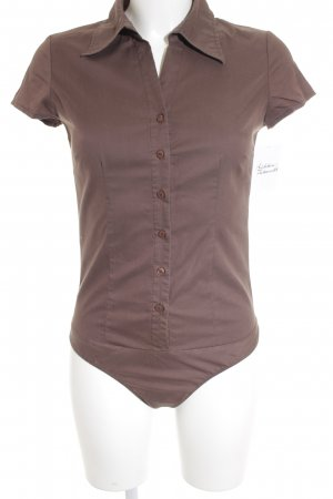 Hallhuber basic Blusa tipo body marrón grisáceo look casual