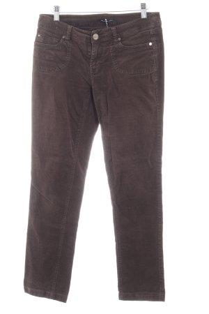 Hallhuber basic Pantalon en velours côtelé brun foncé-brun noir